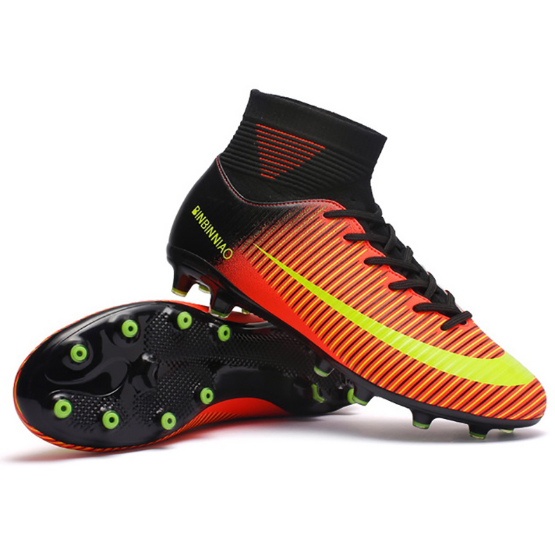 Kids Boy Girls Outdoor Soccer Cleats Shoes TF/FG Ankle Top Football Boots Soccer Training Sneakers Child Sports Shoes EU32--48(China)