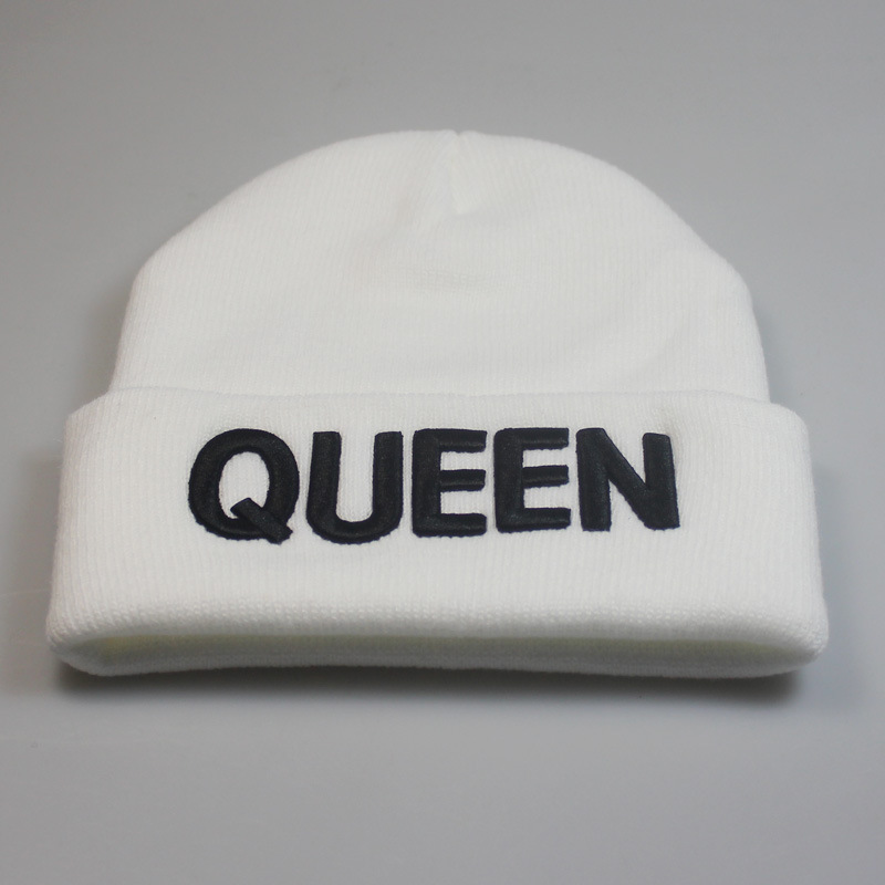 HTB1YaT2XzzuK1RjSspeq6ziHVXah - Beanies Cap KING QUEEN Letter Embroidery Warm Winter Hat Knitted Cap Hip Hop Men Women Lovers Street Dance Bonnet Skullies Black