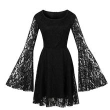 Bell Long Sleeve Lace Gothic Black Lace Halloween Dress Floral Lace Illusion Knee Length European Retro Vintage Dress 4xl tiered bell sleeve fitted lace dress