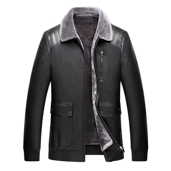 2020 High Quality Men Leather Jackets Faux Sheepskin Coat Winter Leather Jacket Men Sheep Shearing Liner Leather Fur Jacket Men