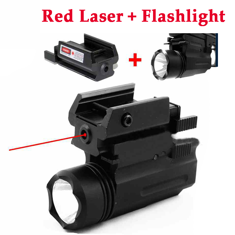 Tactical Red Dot Laser Sight Tactical LED Flashlight Combo 20mm Rail Hunting Accessories For Pistol Guns Glock 17 19 22 23 31 32