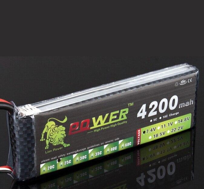 Batterie LiPo LION POWER 7.4 V 4200mAh 25C 2S avec prise T/XT60/JST pour hélicoptère avion de voiture batterie Lipo 7.4 V 4200 mah 2S