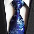 2017 de Alta Calidad Jacquard Azul Corbata para Los Hombres de La Boda de Poliéster Floral Corbatas Gravatas Corbatas Corbatas de Seda 8 cm de Ancho