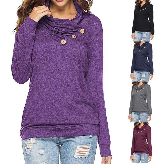 53ac63e863d Womens tshirt Casual Fall Winter Long Sleeve Tunic Shirt Button Cowl Neck T- Shirts Hoodie