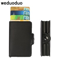 Weduoduo Brand Metal Men Credit Card With RFID Double Card Holder Fashion PU Leather Card Cases