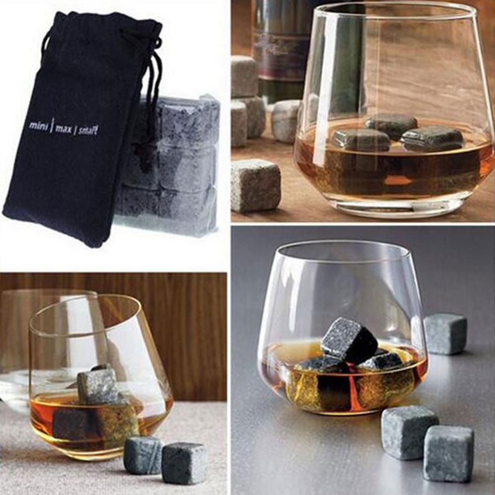 Gray Reuseable Ice Cubes Whiskey Stones Drinking Drinks Bar Vodka Home Granite Drink Cocktails Rocks Whisky Stone Cooler image