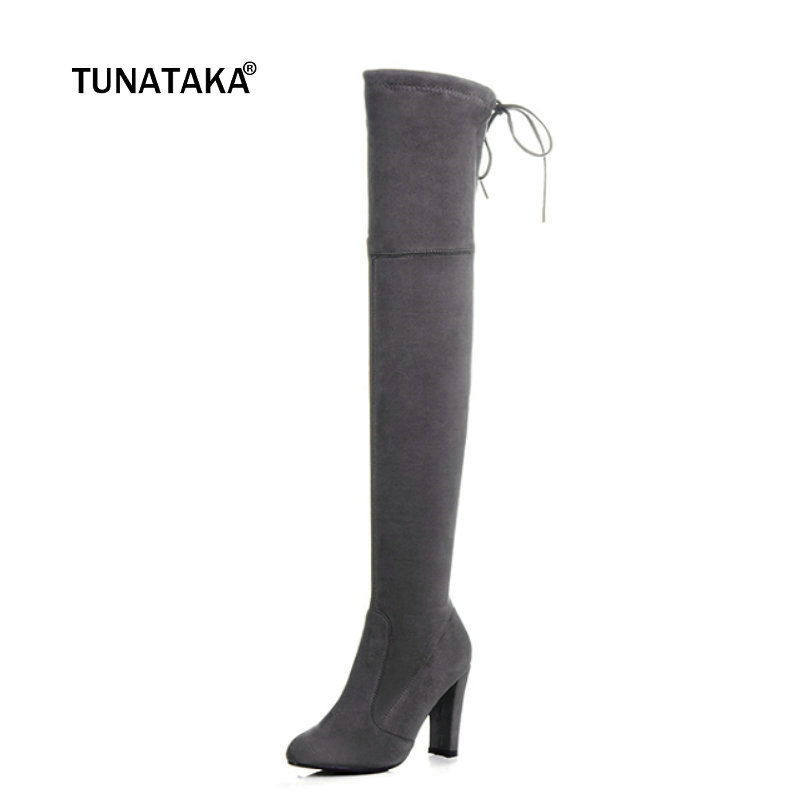 Image 2 - Thigh High Boots Women Suede Over the Knee Boots High Heel Sexy Party Wedding Overknee Boots Fall Winter Shoes Black Grey-in Over-the-Knee Boots from Shoes
