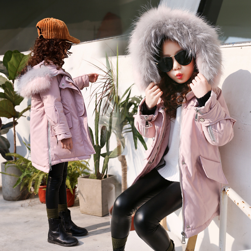 Girls 4-12 Y Long Sleeve Hooded Fluffy Collar Fashion Mid-Long Coats Thicken Warm Cotton Windbreaker Winter Outdoor JacketsGirls 4-12 Y Long Sleeve Hooded Fluffy Collar Fashion Mid-Long Coats Thicken Warm Cotton Windbreaker Winter Outdoor Jackets