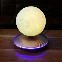 Magnetic Suspension Desk Lamp 3D Printing Moon Light Bedroom Touch Light Night Lamp Creative Gift