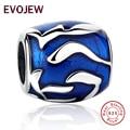 Auténticos 100% Plata Esterlina 925 Elegante Azul Esmalte Granos Del Encanto Fit Pandora Original Pulsera de DIY Fabricación de La Joyería de Regalo