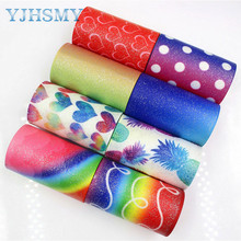 YJHSMY 1710056 75mm 5yards Flash color Ribbons Thermal transfer Printed grosgrain Wedding Accessories DIY handmade materia