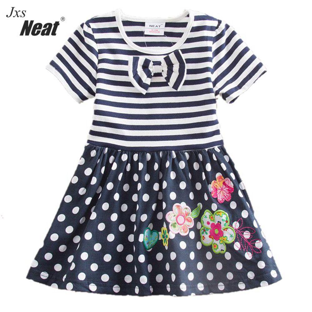 ชุดฤดูร้อนสาวระเบียบผ้าฝ้ายคอกลมเสื้อผ้าเด็กผู้หญิงโบว์ดอกไม้แบบเรียบง่ายสบาย ๆ สาวแขนสั้นชุด H4641