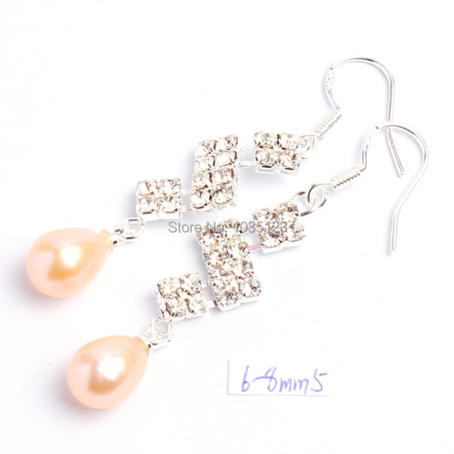 Free Shipping 6-8mm Pretty Pink Color Natural Freshwater Pearl Fashion  Rhinestone Earrings Silver Hook f6dff2e8599c