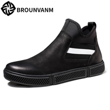 hot deal buy high top genuine leather shoes men autumn winter men's casual shoes lazy mens casual shoes hot all-match cowhide breathable