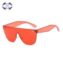 VCKA Moda Mulheres Sem Aro óculos de Sol Shades Óculos de Sol Fresco Fêmea  Doce Cor Transparente UV400 Eyewear Oculos de sol e5f8cd3f0b