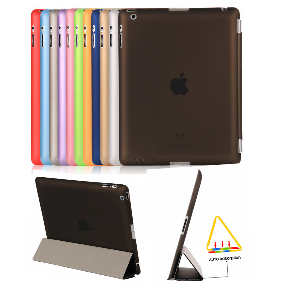 For apple iPad 2 3 4 Case,Aiyopeen Magnet PU Leather Auto sleep Perfect Fit PC Translucent Back Cover for iPad 4/3/2 A1396 A1460 protective frosted pc back case for samsung note 3 n7200 n9000 translucent black