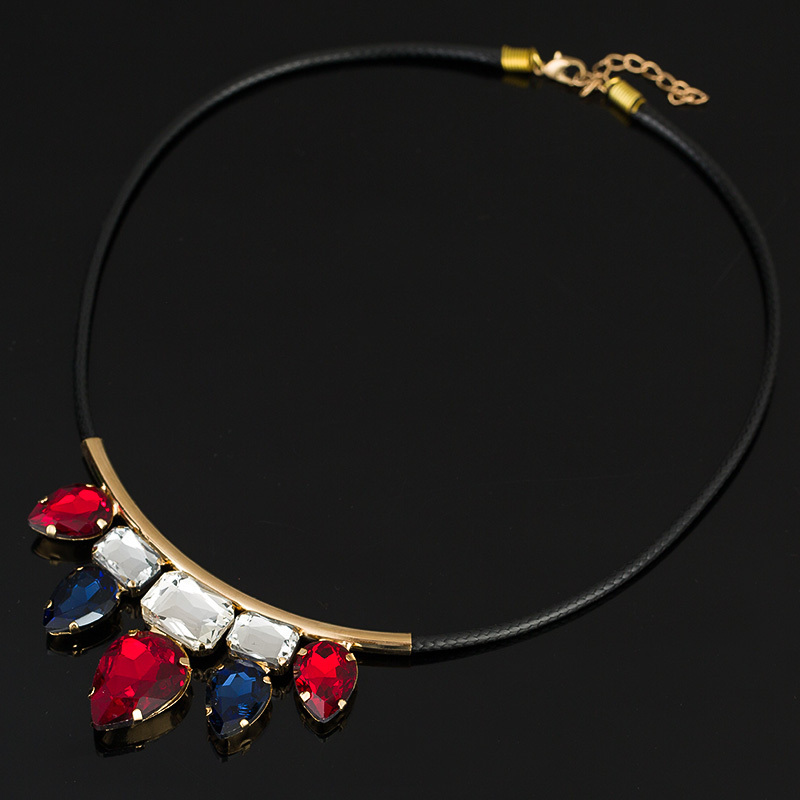 2016 Trendy Pendants  Link Chain Collar Long Plated Enamel Statement Bling & Fashion Necklace for Women Jewelry #N015