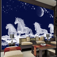 3D wallpaper HD stereo running horse TV background wall professional production mural home decoration covering