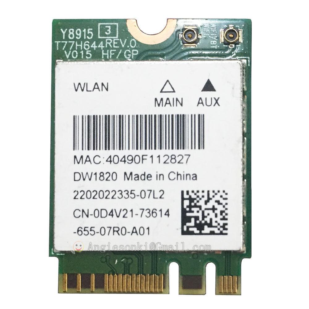 US $20 99 |DW1820 WLAN WiFi Wireless 802 11ac NGFF 867M Network Module Card  +Bluetooth 4 1 D4V21 QCNFA344A for DELL 7359 E7270 E5470 E7470-in Network