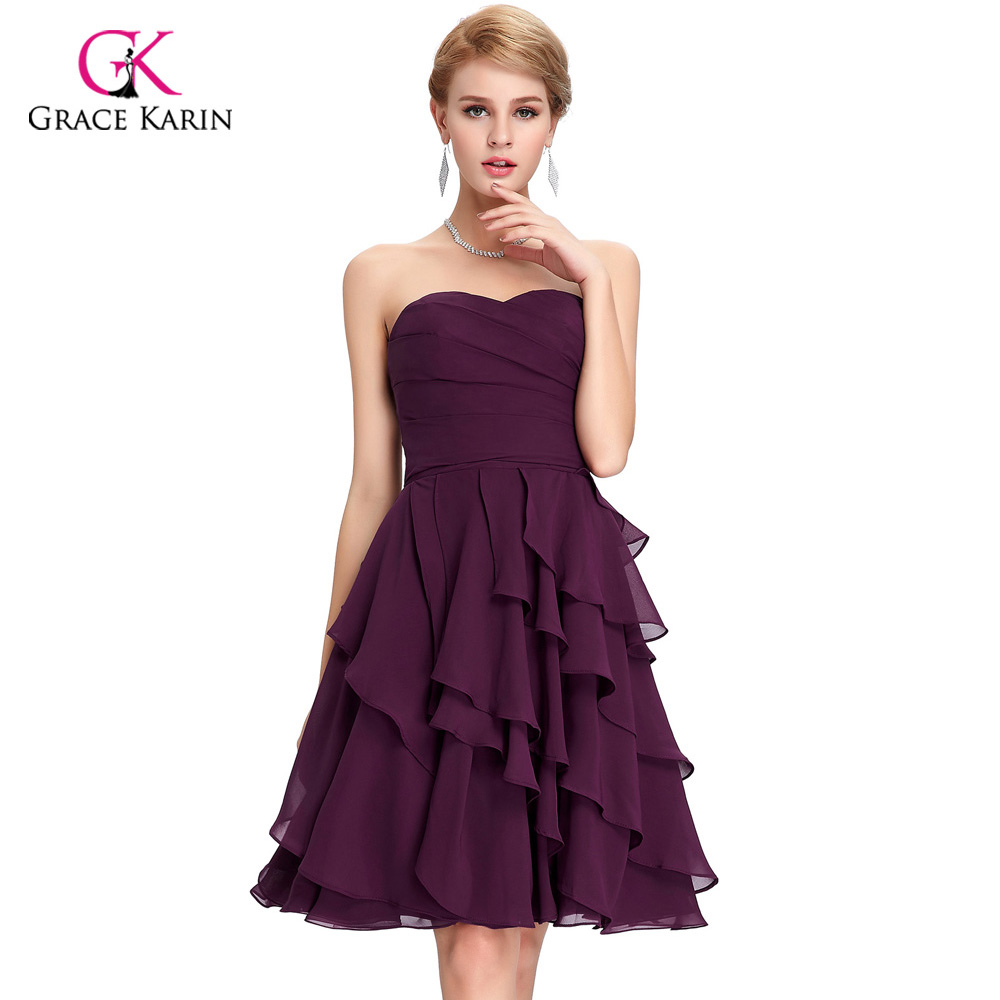 Modest bridesmaid dresses grace karin cheap knee length for Modest wedding dresses under 500