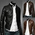 2017 мужская мода бутик качество стенд воротник тонкий отдых кожаные куртки/Мужчины мотоцикл кожаной куртки Мужчины повседневная пальто