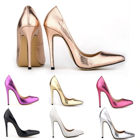 cd487f99aa3 Fashion Snakeskin Pointed Toe High Heels Sexy Women Pumps Weeding Shoes  Silver Gold