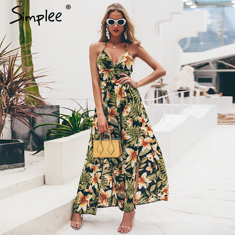 SIMPLEE Floral Print Maxi Dress S19DR1724