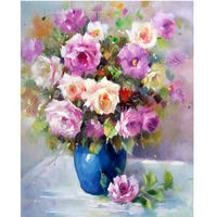 Rushed Rose Vase 40x50cm Diy Diamond Painting Rhinestone Pasted Kit 3d For Square Drill 100%full Living Room Decoration