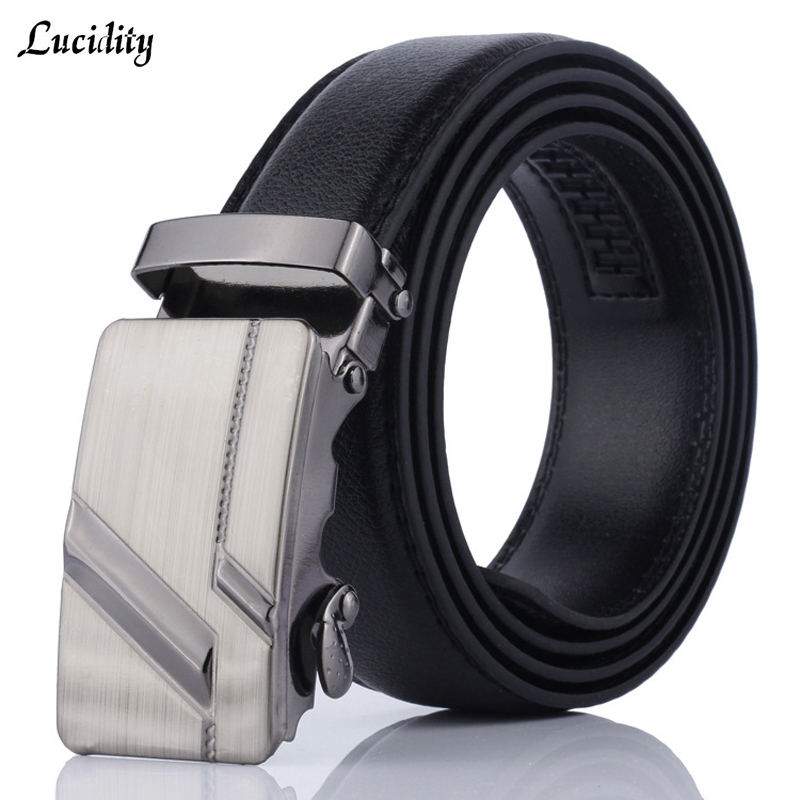 Lucidity Men Automatic Buckle Belts PU Leather Practical Business Man Belts Classic Popular Male Brand Belts Black