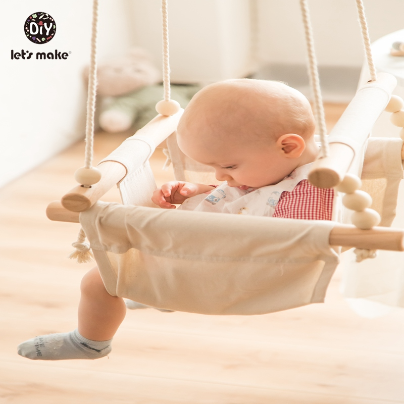HTB1YaVParH1gK0jSZFwq6A7aXXa5 Let's Make Baby Swings Canvas Hanging Chair 13-24 Months Hanging Toys Hammock Safety Baby Bouncer Indoor Wooden Swing Rocker