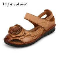 2018 New Summer National Wind Retro Handmade Flowers Flat Shoes Genuine Leather Sandals For Women Hollow