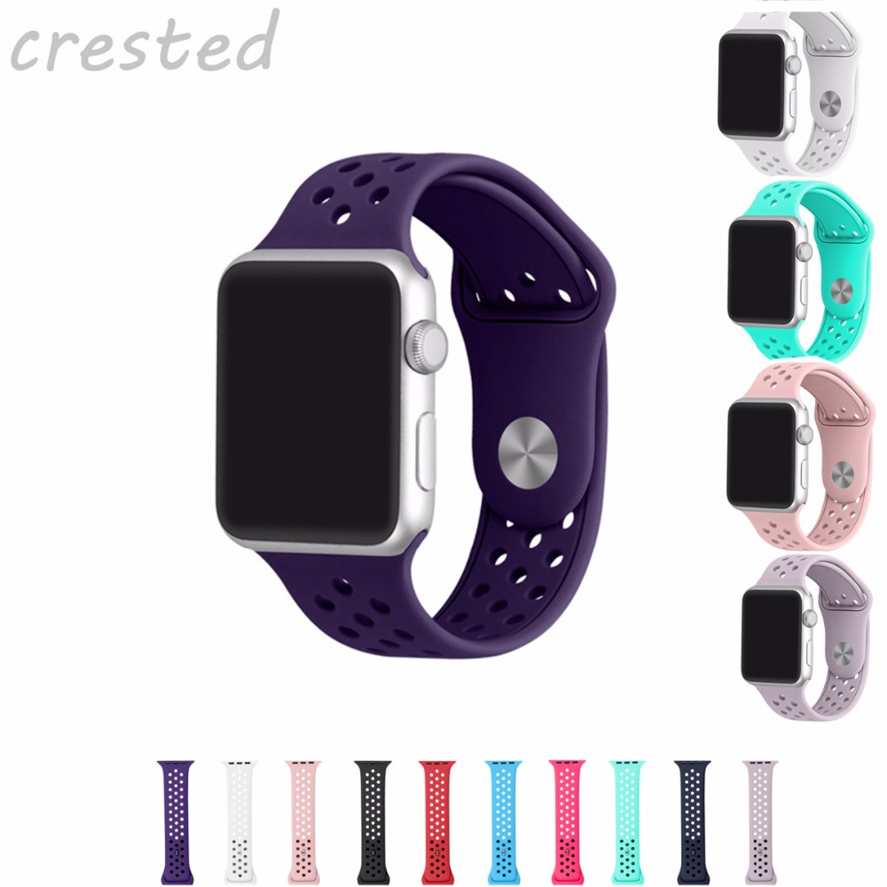 CRESTED sport silicone strap for apple watch band 42mm/38 rubber watch band for iwatch 1/2/3 Replaceable link bracelet strap crested new arrival colorful silicone strap for iwatch 1 2 apple watch nike 42mm rubber sport bracelet wrist band with adapter