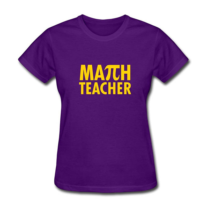 100% Cotton Brand New T Shirts Crew Neck Short-Sleeve Printing Machine Womens Pi Day Math Teacher T Shirts