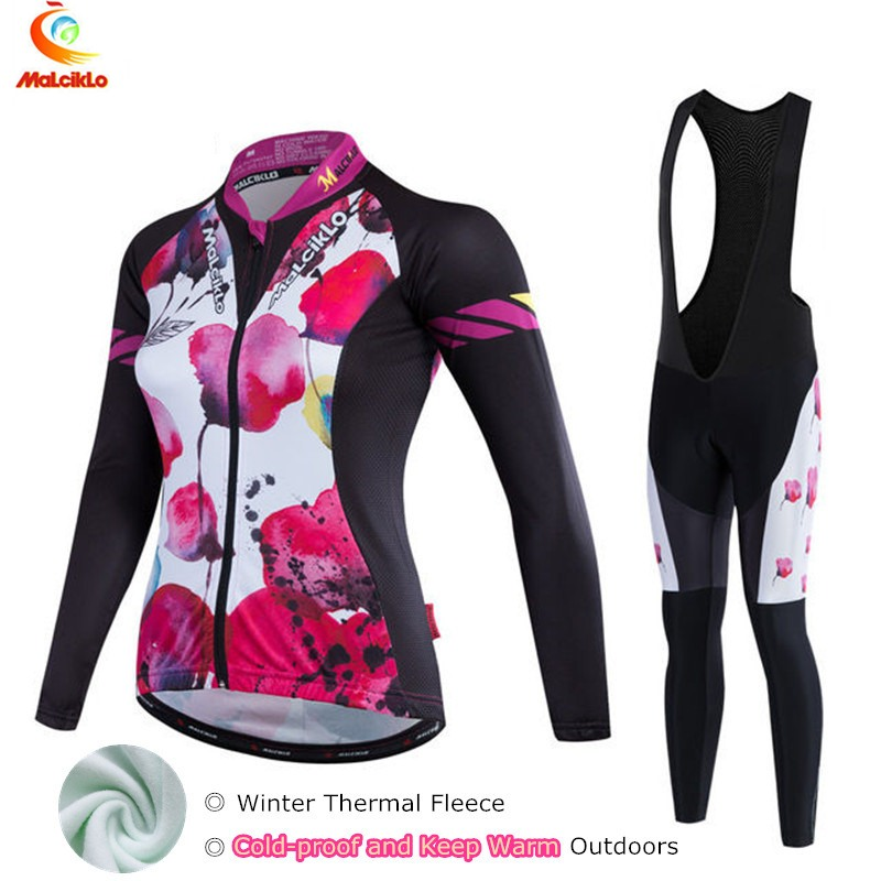 Ropa Ciclismo Mujer Invierno Winter Thermal Fleece Pro Cycling Jersey Women 2019 MTB Maillot Bike Long