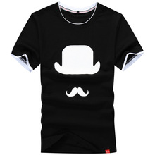 Summer men's Casual short-sleeved t-shirt Slim Fit round neck short t hat printing men Fashion wild T-shirt large size
