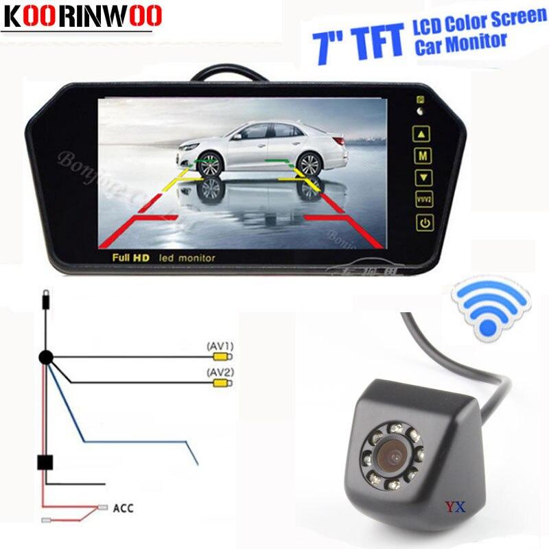 Genuine Koorinwoo Wireless CCD Car Rear view camera 8 Led lights with 7 LCD-TFT Screen Car Monitor Video Input AV1/2 Free Ship