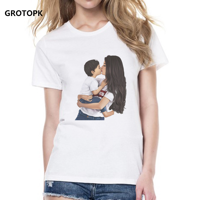 Super MOM LOVE T-shirts For Women Baby Boy Mommy Son Angel Top Summer T Shirt Women New Arrivals 2019 Vogue T-shirt Mother's Day