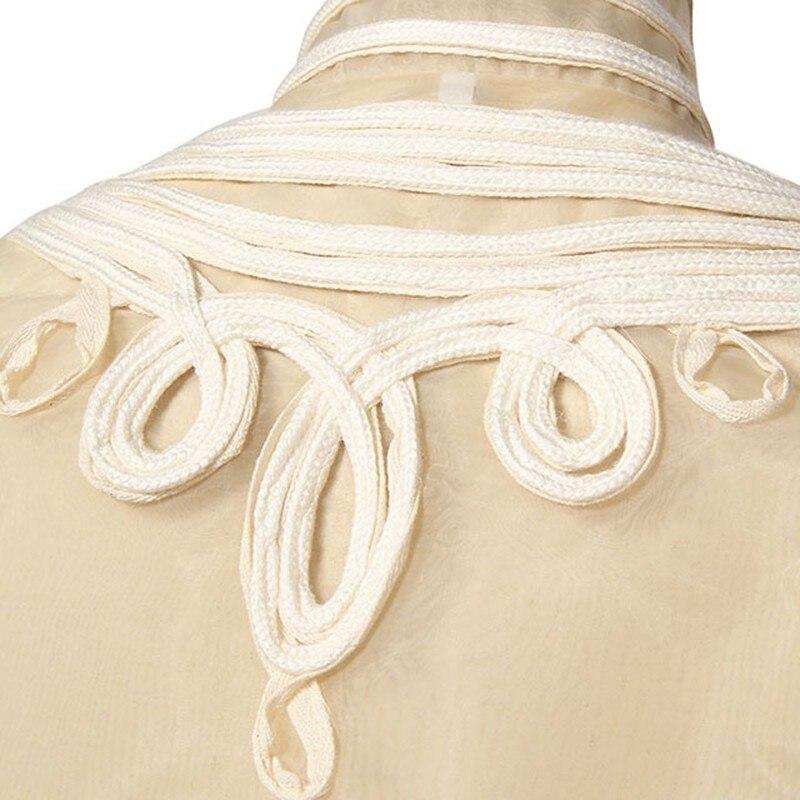 Apricot Appliques Mujeres Moda Abrigo Manga Coat Vintage Cuello Chaqueta Botones Twotwinstyle Las Ropa Otoño Palazzo Para De Patchwork Larga wYAxqTFT