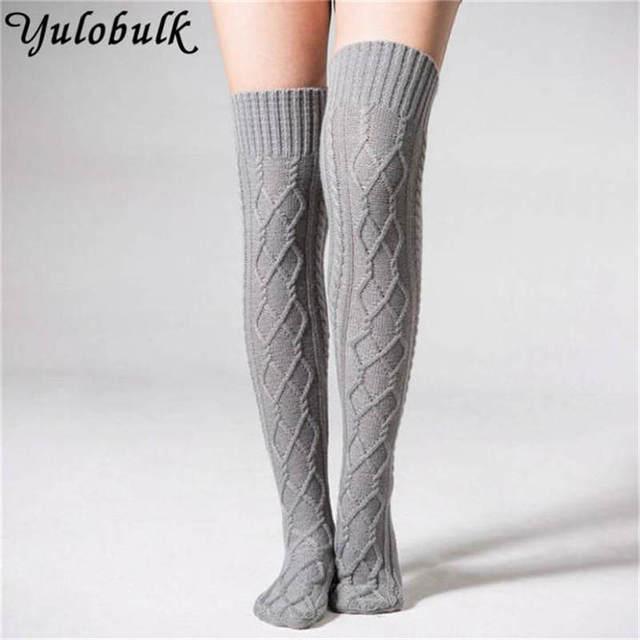 Punto calentadores de la pierna de las mujeres sobre la rodilla ...