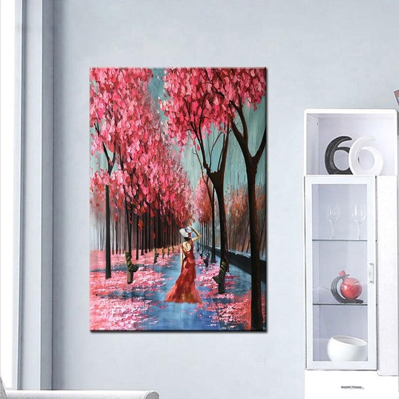 Grande e moderno Vie Pittura Murale Dipinto A Mano Paesaggio Astratto Dipinti Ad Olio su Tela Coltello Rosso Albero Foto di Paesaggi