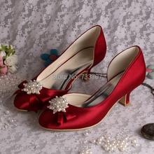 Wedopus Бургундия Женщины Свадебные Свадебная Обувь Небольшие Каблуки Лук Обувь Партия Насосы