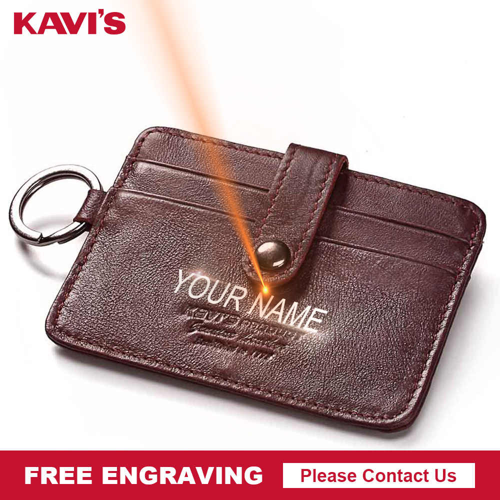 KAVIS Free Engraving Mini Hasp Leather Credit Card Wallet Women Slim Thin ID Card Holder Small Wallet Coin Purse Short Walet