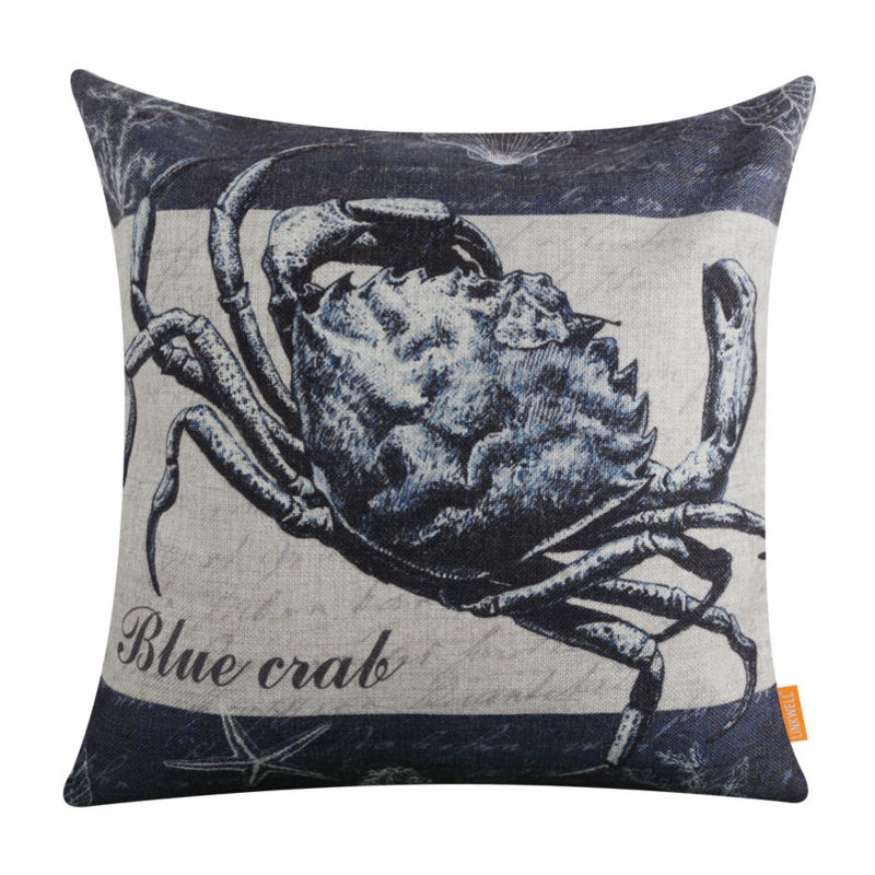 Linkwell 45x45cm Retro Marine Blue Crab Linen Cushion Covers Pillowcase Home Decoration Sofa Decor Nautical Anchor Seagr