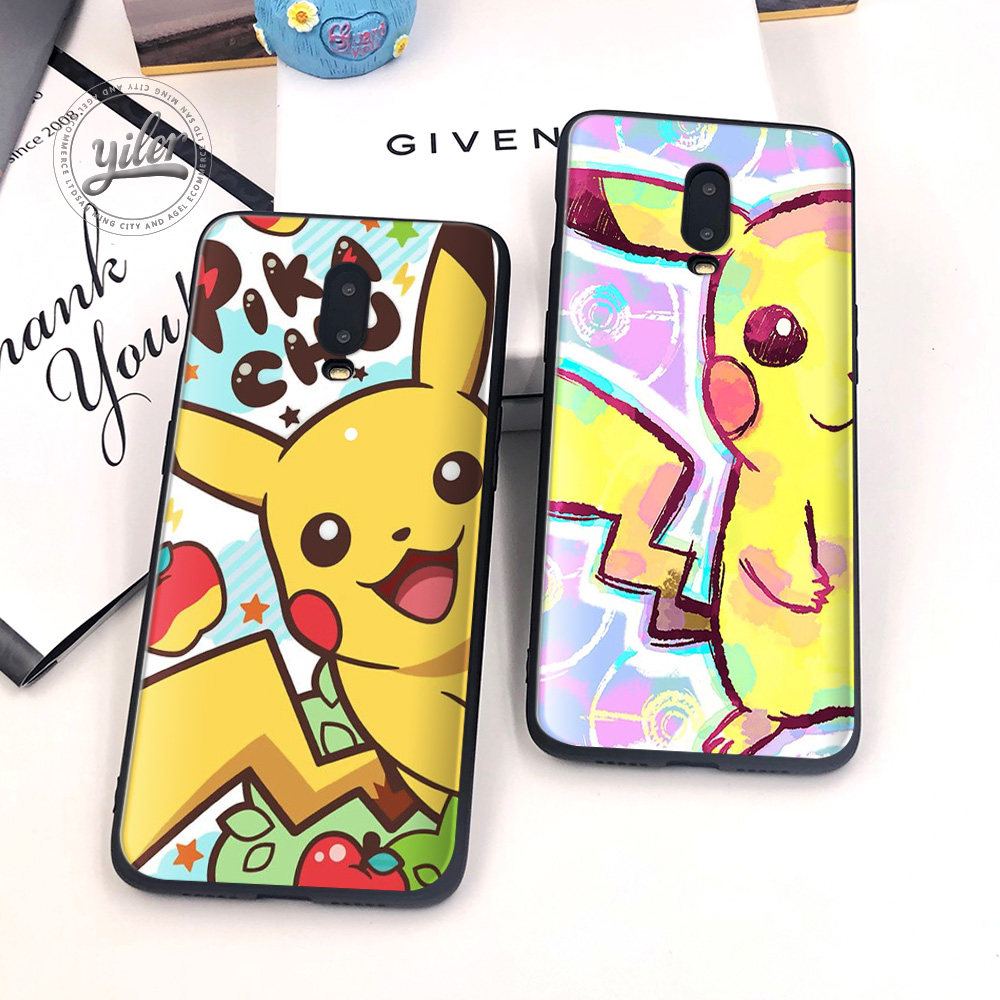 Coque For Oneplus 6T Case Cover Black Soft Silicone Cute Pika Mouse elf for 7 Funda 1+6T Phone Cases