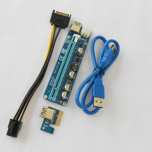 VER 008C PC PCIe PCI-E PCI Express Riser Card 1x to 16x USB 3.0 Data Cable SATA to 6Pin Power Supply for BTC Miner Machine