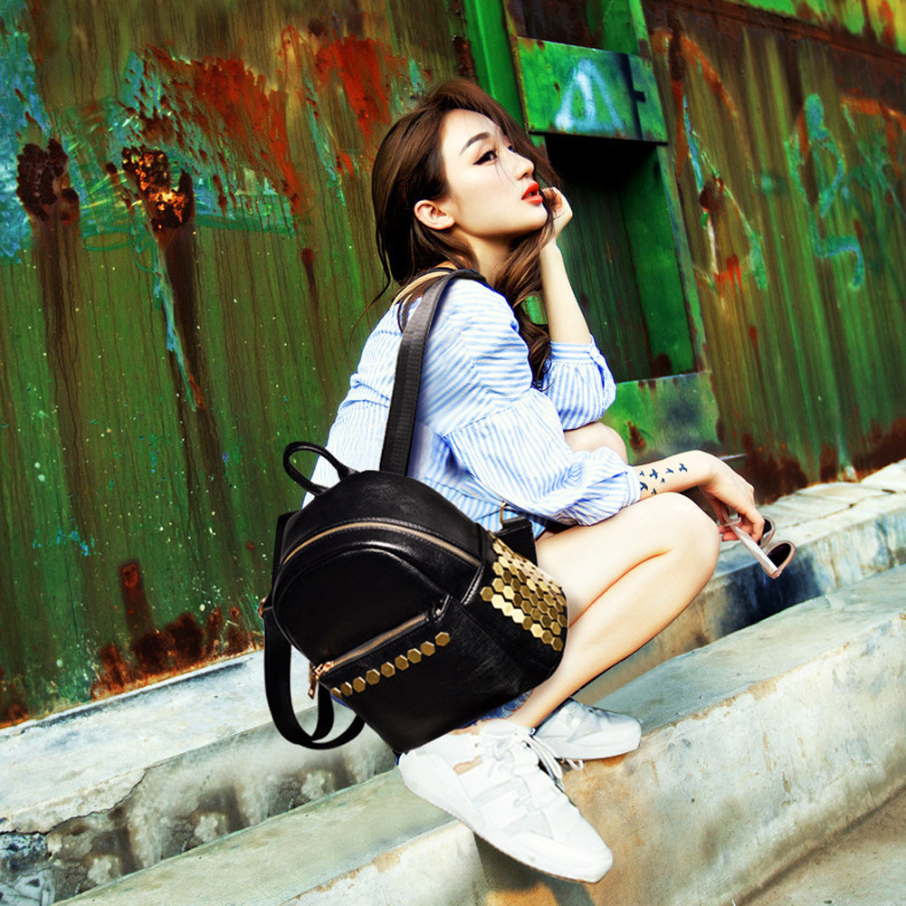 2017 New Vintage Waterproof Leather Backpack Women Sequined Backpack For School Girls Ladies Bag Mochila Feminina