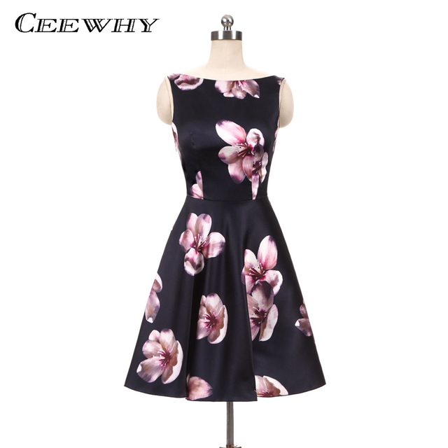 CEEWHY Floral Printed Short Special Occasion Formal Party Dress Plus Size  Vintage Prom Dresses Graduation Cocktail Dress e0a7a32bc357