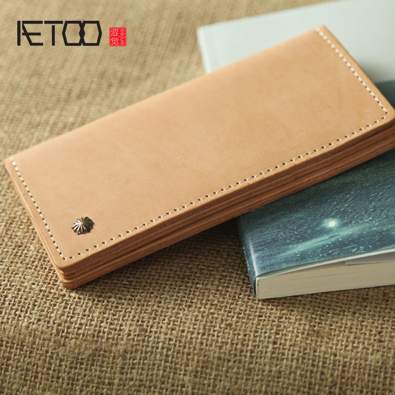 AETOO Retro simple leather tannage handmade leather men and women wallet leather temperament long section of Vintage walletAETOO Retro simple leather tannage handmade leather men and women wallet leather temperament long section of Vintage wallet