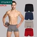 IYUNYI 4 Шт./лот Sexy Men Underwear Сундуки Боксеры Хлопок Фирменное мужские Боксеры с Низкой Талией Дизайн Моды Underwear