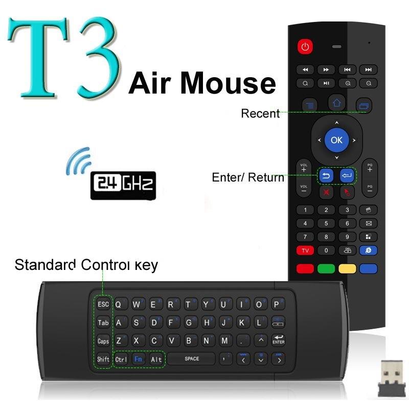 Más Fly Air Mouse Mini teclado inalámbrico con micrófono Control remoto T3 para Android TV Box reproductor de medios ruso teclados opción